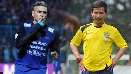 Cristian Gonzales dan Djajang Nurdjaman. - INDOSPORT
