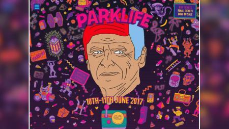 Poster acara musik Parklife dengan wajah Arsene Wenger. - INDOSPORT
