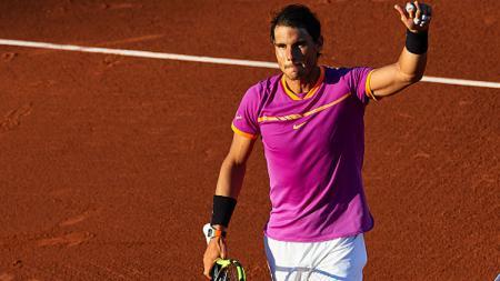 Ekspresi Rafael Nadal setelah memenangkan pertandingan. - INDOSPORT