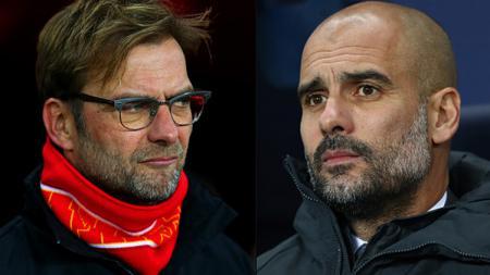 Jurgen Klopp dan Pep Guardiola masih terus adu kuat bersama timnya masing-masing di kompetisi sepak bola Liga Inggris. Michael Steele/Getty Images. - INDOSPORT