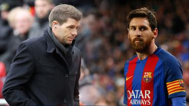 Steven Gerrard dan Lionel Messi. - INDOSPORT