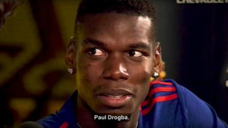 Paul Pogba ketika disebut sebagai Paul Drogba. - INDOSPORT