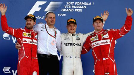Sebastian Vettel, Valtteri Bottas, dan Kimi Raikkonen. - INDOSPORT