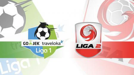 Logo Liga 1 dan Liga 2. - INDOSPORT