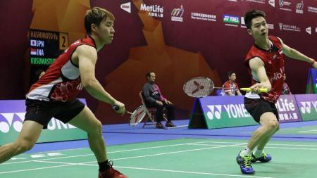 Kevin Sanjaya Sukamuljo/Marcus Fernaldi Gideon saat berlaga di Malaysia Masters 2016. - INDOSPORT