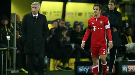 Pelatih Bayern Munchen, Carlo Ancelotti beserta kapten Die Roten, Philipp Lahm. - INDOSPORT