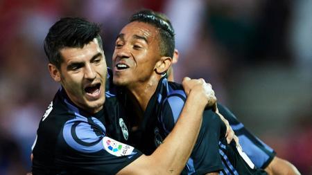 Morata rayakan keberhasilannya mencetak gol ke gawang Granada. - INDOSPORT