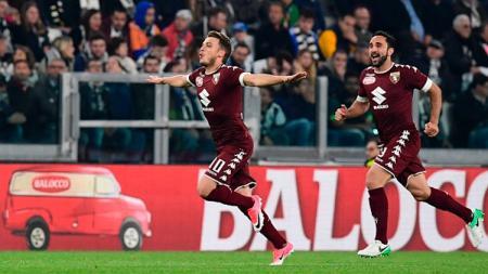 Adem Ljajic cetak gol perdana ke gawang Juventus. - INDOSPORT