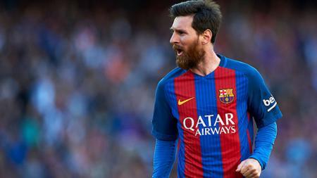 Bintang Barcelona, Lionel Messi melakukan selebrasi. - INDOSPORT