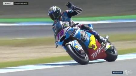 Alex Marquez berhasil finis di urutan pertama di GP Spanyol. - INDOSPORT