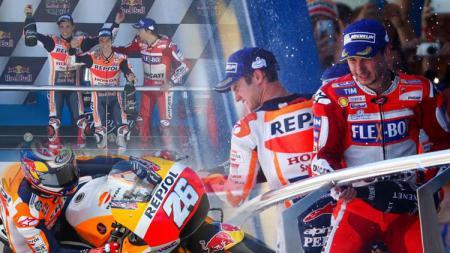 Dani Pedrosa berhasil meraih finish di urutan pertama, Marc Marquez finish di urutan kedua dan Jorge Lorenzo finish ketiga. - INDOSPORT