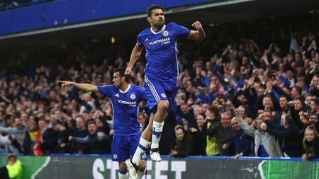 Selebrasi Diego Costa usai membuka keran gol Chelsea atas Middlesbrogh di babak pertama. - INDOSPORT