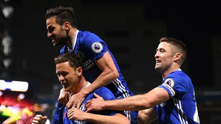 Selebrasi para pemain Chelsea usai membobol gawang The Boro. - INDOSPORT