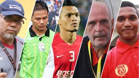 Ki-ka: Iwan Setiawan, Iwan Sukoco, Ferdinand Sinaga, Laurent Hatton, dan Abduh Lestaluhu. - INDOSPORT