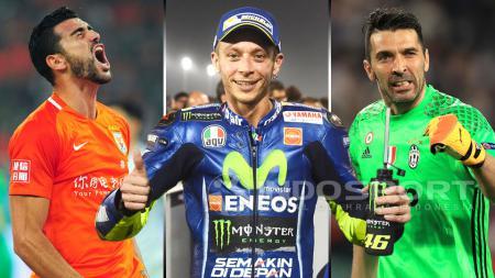 Graziano Pelle, Valentino Rossi, dan Gianluigi Buffon. - INDOSPORT