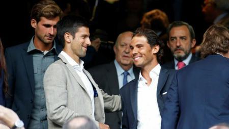 Novak Djokovic dan Rafael Nadal saat menonton Real Madrid. (Sumber: Getty Images). - INDOSPORT