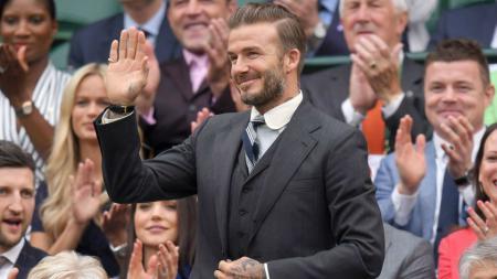 David Beckham menonton laga Wimbledon. - INDOSPORT