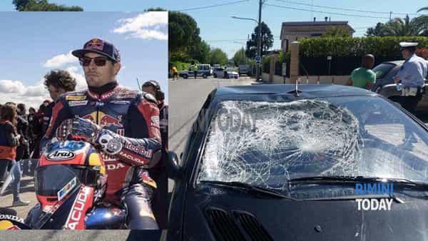 Kondisi mobil yang menabrak Nicky Hayden. Copyright: Rimini Today