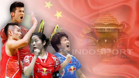 Chen Long, Lin Dan, He Bingjiao, dan Jia Yifan dalam tim bulutangkis China. - INDOSPORT