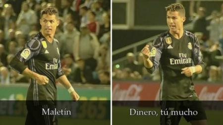 Gestur Ronaldo kepada pemain Celta Vigo yang mengindikasikan adanya Maletin. - INDOSPORT