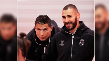 Dua striker Real Madrid, Cristiano Ronaldo (kiri) dan Karim Benzema. - INDOSPORT