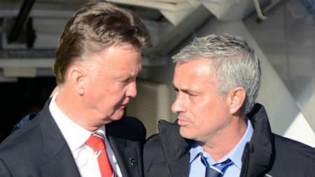 Louis van Gaal dan Jose Mourinho - INDOSPORT