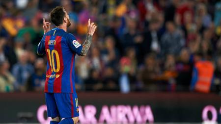Megabintang Barcelona, Lionel Messi berhasil menciptakan gol solo run sensasional. - INDOSPORT