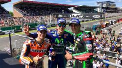 Para peraih podium dalam balapan MotoGP Prancis 2017.