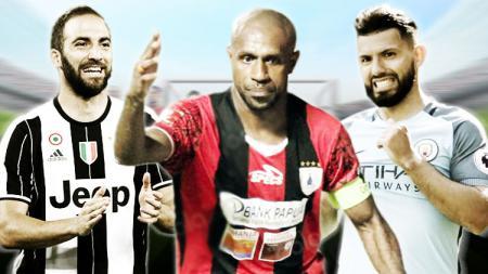 Gonzalo Higuain (kiri) dan Sergio Aguero (kanan) harus mengakui keunggulan Boaz Solossa dalam rataan gol. - INDOSPORT