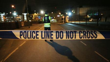 Garis Polisi di Manchester Arena terjadinya ledakan.