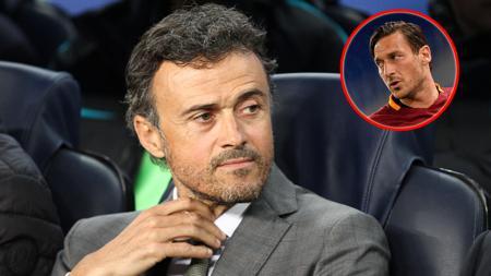 Pelatih Barcelona, Luis Enrique dan legenda AS Roma, Francesco Totti. - INDOSPORT