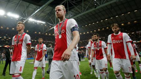 Para pemain Ajax Amsterdam dalam laga final Liga Europa kontra Manchester United. - INDOSPORT