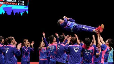 Selebrasi tim Korea Selatan juara Piala Sudirman. - INDOSPORT