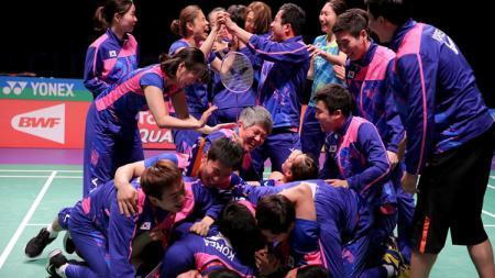 Selebrasi tim Korea Selatan usai menjadi juara Piala Sudirman 2017. - INDOSPORT