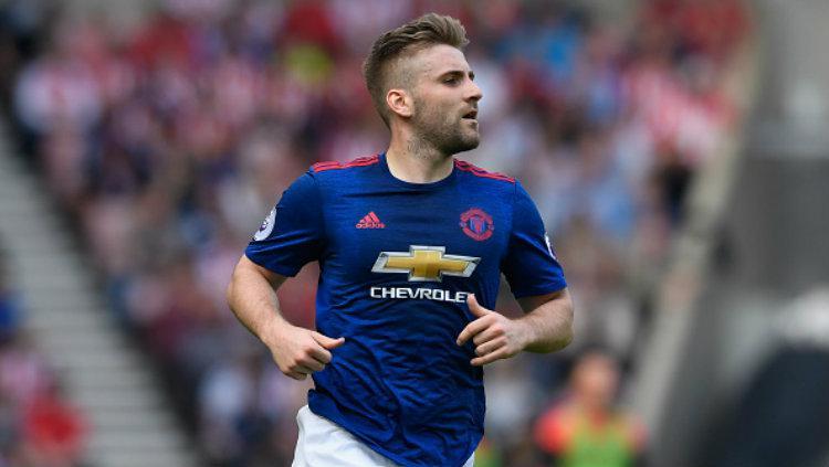 Bek sayap Manchester United, Luke Shaw. Copyright: Stu Forster/Getty Images