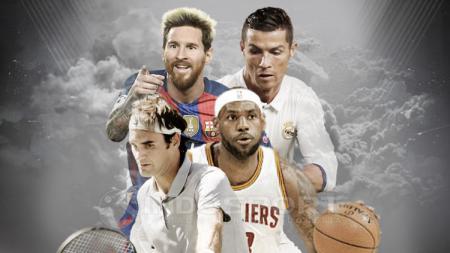 Cristiano Ronaldo, Roger Federer, Lionel Messi, dan LeBron James. - INDOSPORT