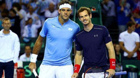 Juan Martin del Potro dan Andy Murray saat bertemu di ajang Davis Cup 2016. - INDOSPORT