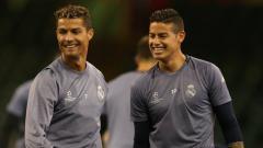 Indosport - Bintang Real Madrid, Cristiano Ronaldo dan James Rodriguez.