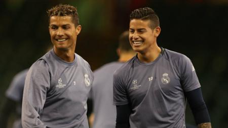 Bintang Real Madrid, Cristiano Ronaldo dan James Rodriguez. - INDOSPORT