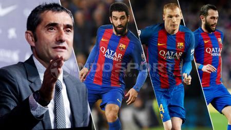 Kiri-kanan: Ernesto Valverde, Arda Turan, Jeremy Mathieu, dan Aleix Vidal. - INDOSPORT