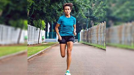 Atris Indonesia, Melanie Putria  yang gemar memberikan tips dan trik seputar olahraga lari - INDOSPORT