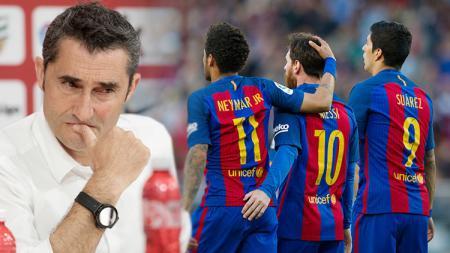 Ernesto Valverde, Neymar, Lionel Messi dan Luis Suarez. - INDOSPORT