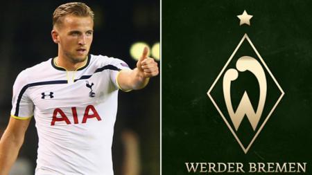 Harry Kane dan logo Werder Bremen. - INDOSPORT