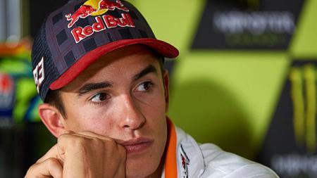 Pembalap Repsol Honda, Marc Marquez dalam konferensi pers. - INDOSPORT