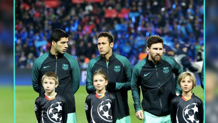 Trio MSN Barcelona, Lionel Messi, Luis Suarez, dan Neymar Jr. - INDOSPORT