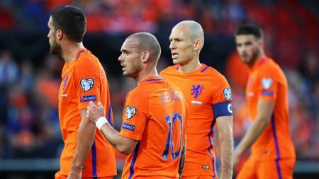 Pemain Timnas Belanda merayakan gol. - INDOSPORT