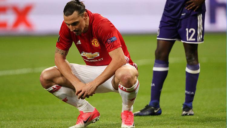 Zlatan Ibrahimovic saat masih memperkuat Manchester United. Copyright: Getty Images