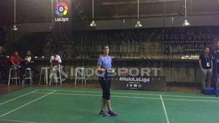 Carolina Marin saat mengunjungi Indonesia bersama La Liga Spanyol. - INDOSPORT