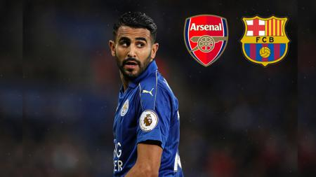Gelandang serang Leicester City, Riyad Mahrez direbutkan oleh Arsenal dan Barcelona. - INDOSPORT