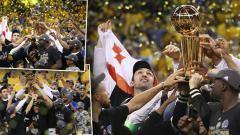 Indosport - Selebrasi pemain Golden State Warriors usai memenangkan final NBA 2016/17.
